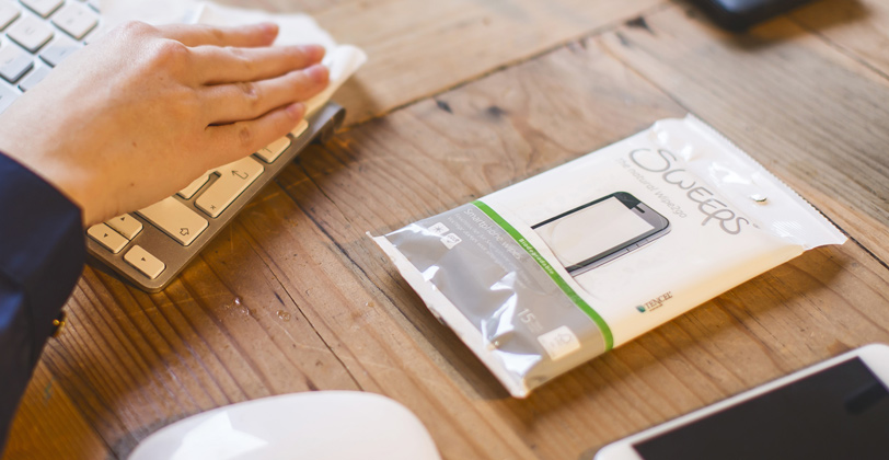 Sweeps verpakking op tafel